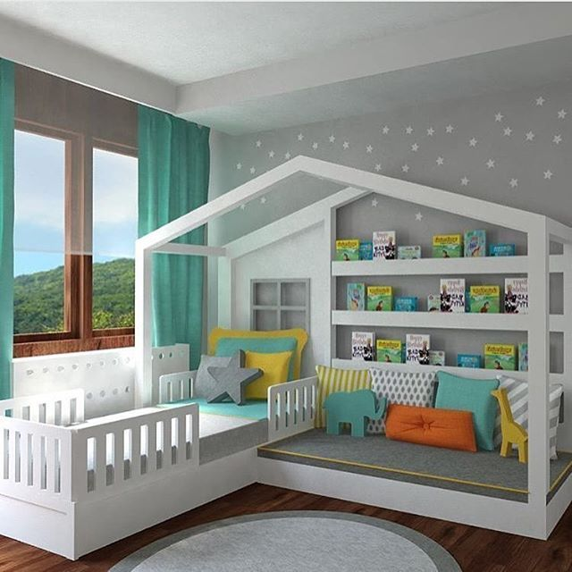 child's bed with storage space