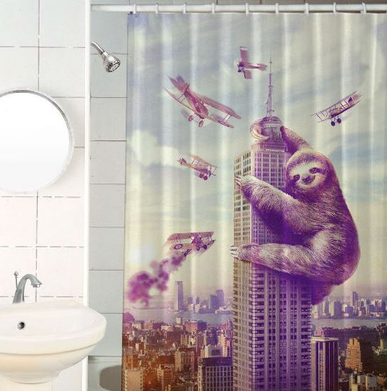 funny sloth shower curtain