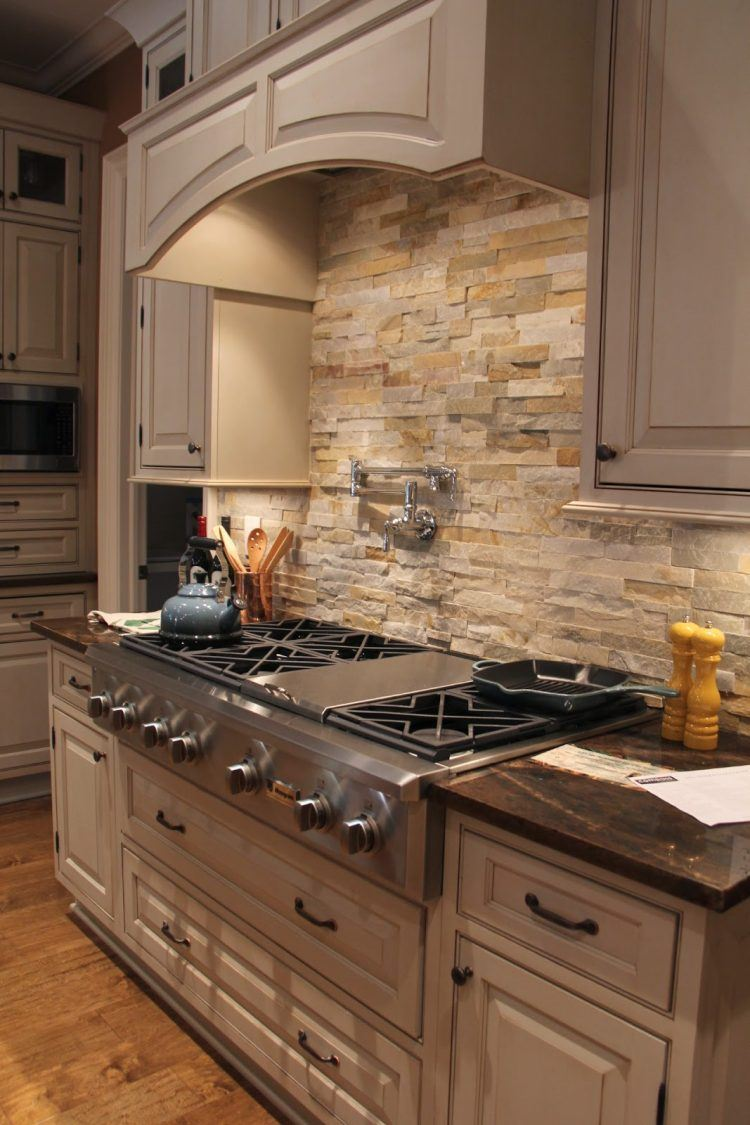 simple stone backsplash