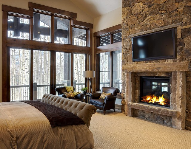 20 beautiful bedrooms with stone fireplace designs Traditional rustic master bedroom