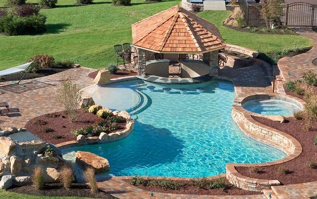 Pool With Bar And Gazebo