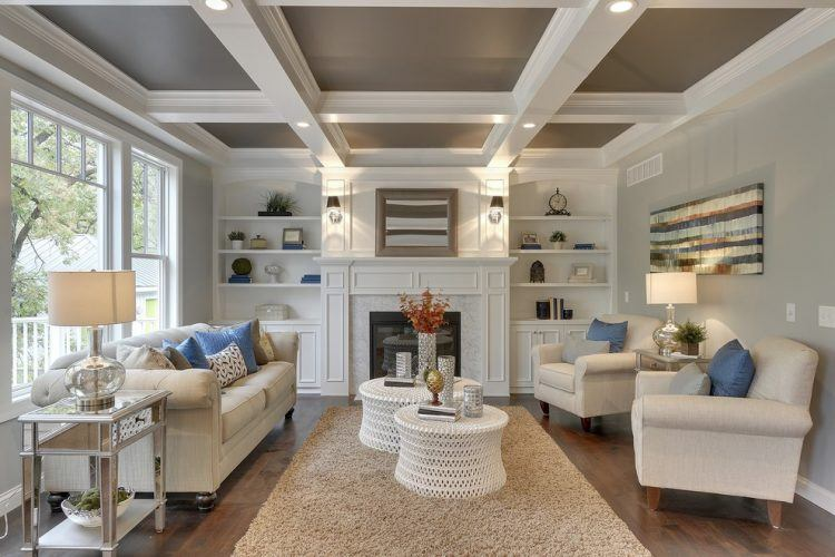 10 beautiful living rooms with coffered ceilings for Coffered ceiling styles