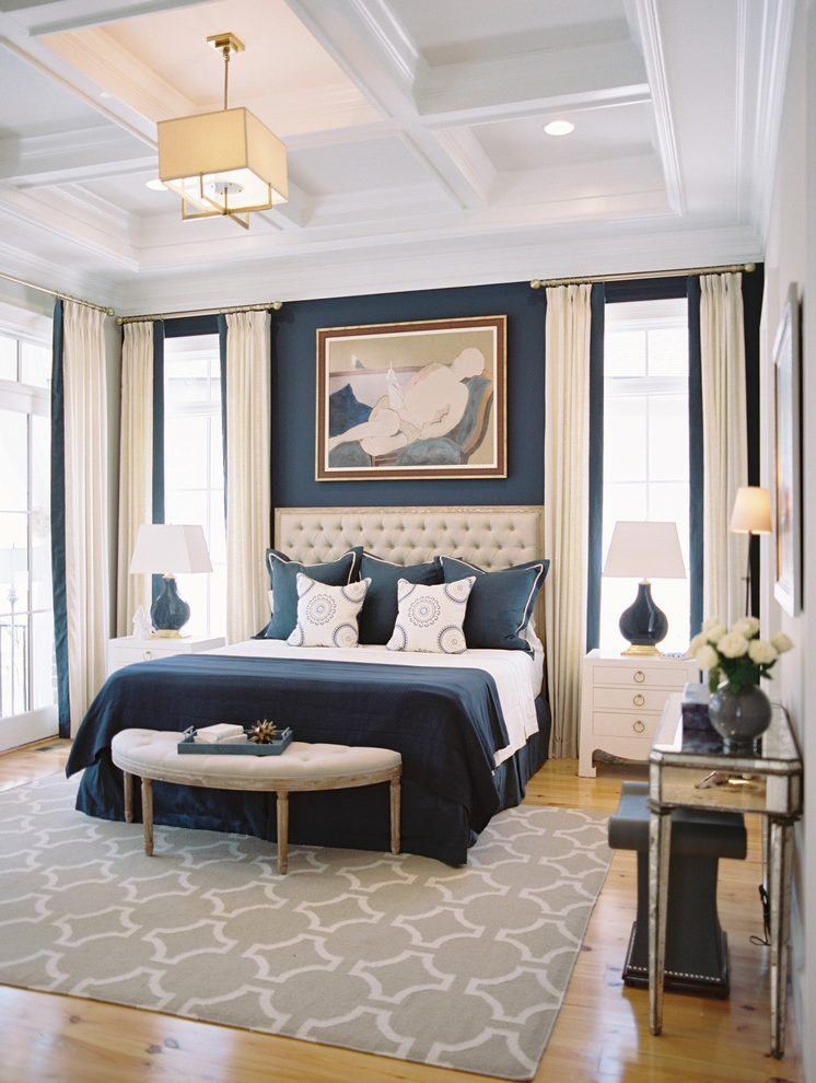 10 beautiful bedrooms with coffered ceilings - Blue bedroom ideas ...