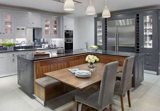 beautiful kitchen with black and wood design