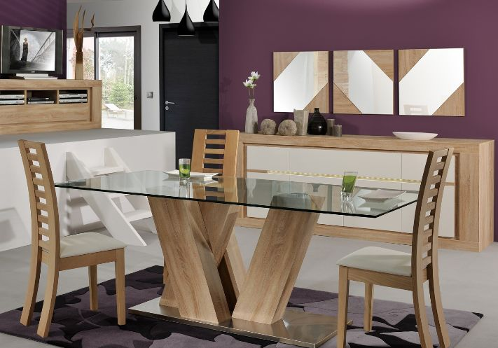 Contemporary Purple Dining Room