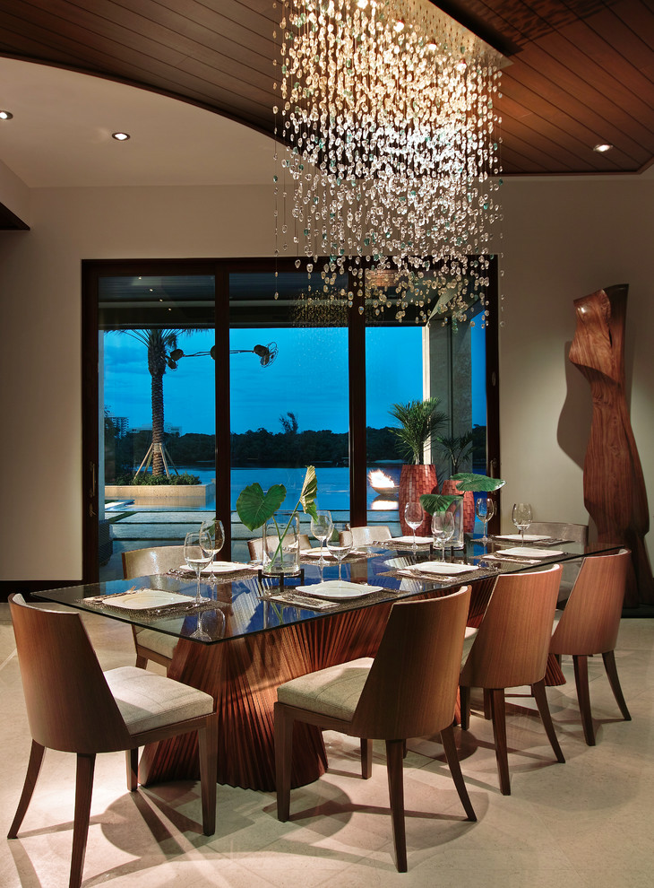 10 beautiful dining rooms with hanging lights for Beautiful dining room photos